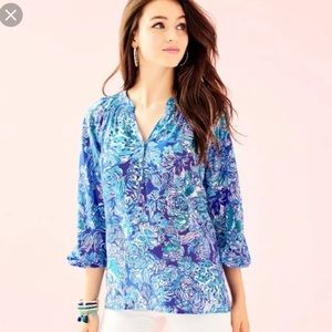 Lilly Pulitzer Elsa Blouse In Cat Call